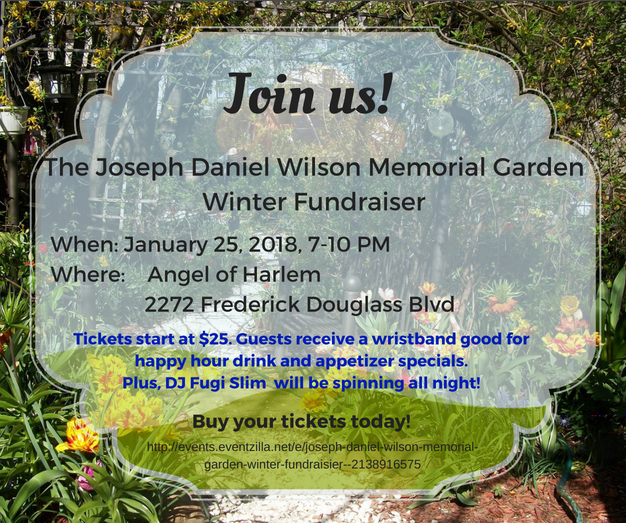 The Joseph Daniel Wilson Memorial Garden Winter Fundraiser @ Angel of Harlem
